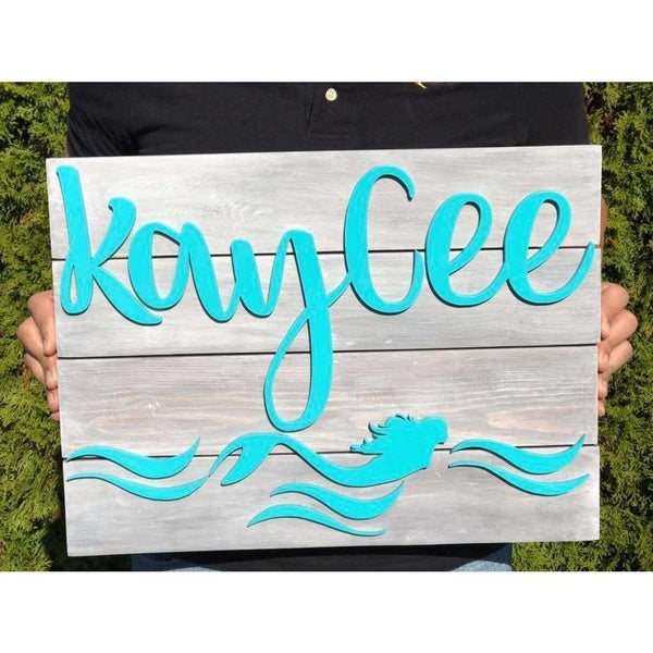 Mermaid Nursery Name sign customizable for childs room