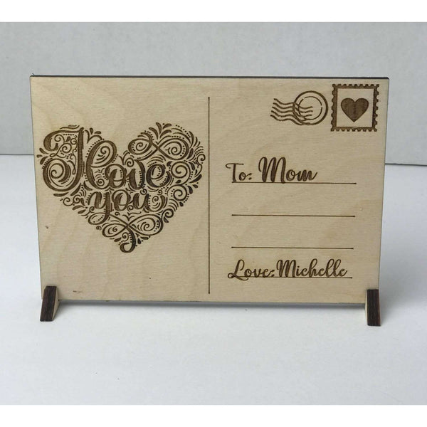 Love Wooden Valentine Post Card