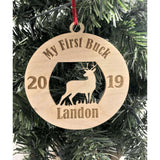 My First Buck Hunting Wooden Engraved Ornament