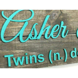 Nursery name sign for Twins
