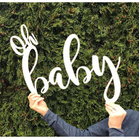 Oh baby Wooden Baby shower cutout Photo Prop