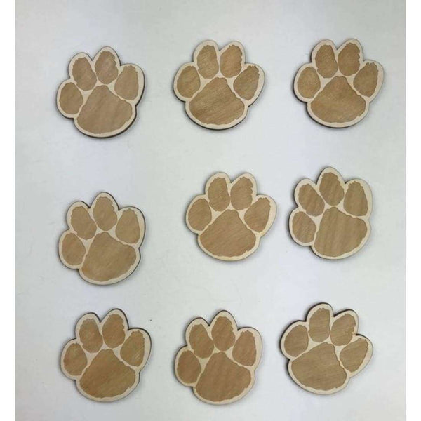 Paw Print Dog Engraved Wooden Cutouts