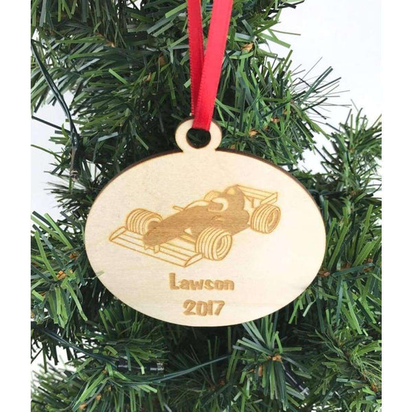 Personalized race car ornament
