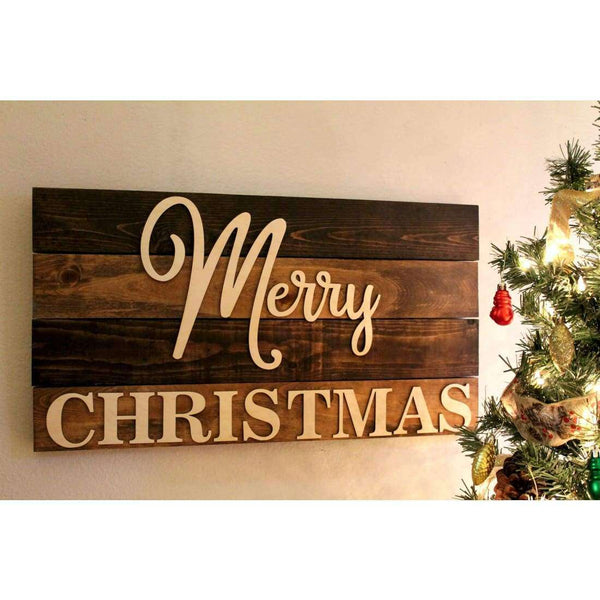 Rustic Merry Christmas Sign Free Domestic Shipping!