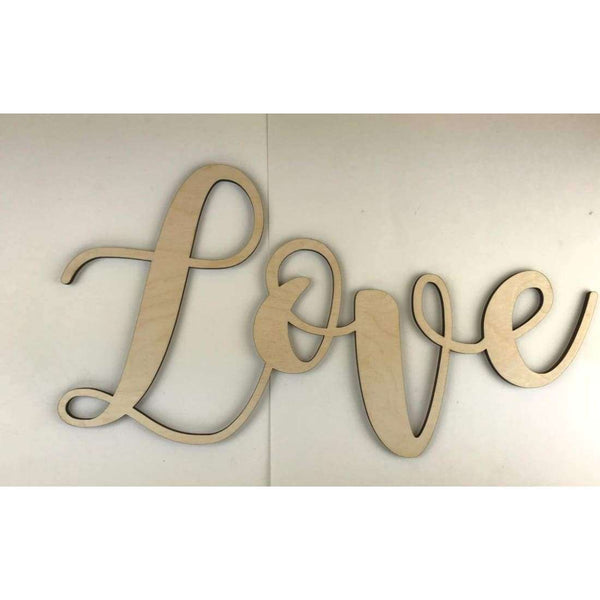Script Love Wooden Cutouts