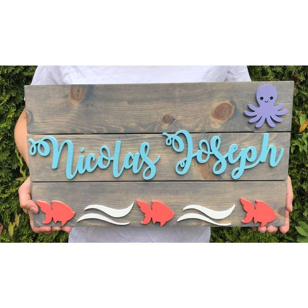 Sea Themed Girls Nursery Name sign