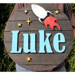 Nursery Rocket Ship Sign for Childen and Babies