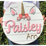 Unicorn Decor Wall name sign personalized