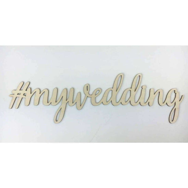 Wedding hashtag Wood Cut outs