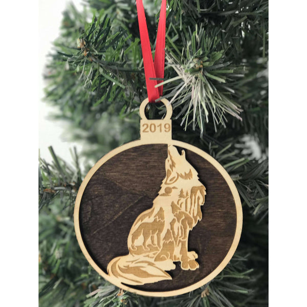 Engraved Wolf Ornament Personalized