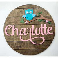 Woodland Owl Nursery Sign