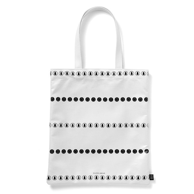 Circle Stripe Coated Canvas Tote Bag- White