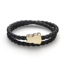 Zazen Bear Double Wrap Braided Leather Bracelet