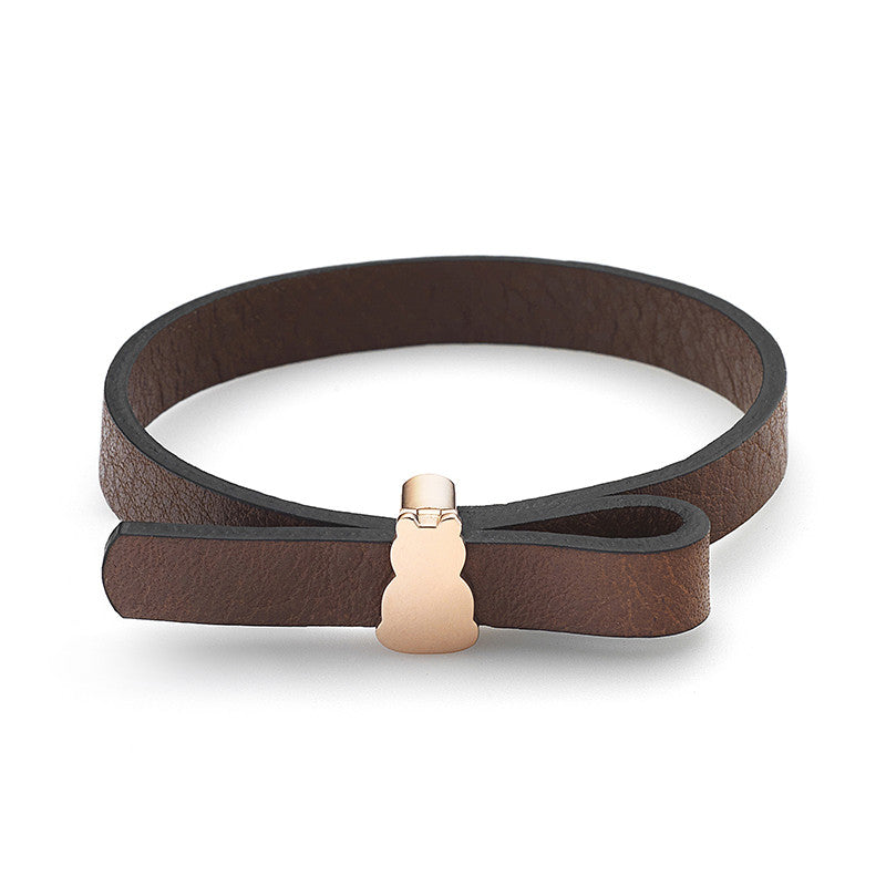Zazen Bear Leather Bow Bracelet