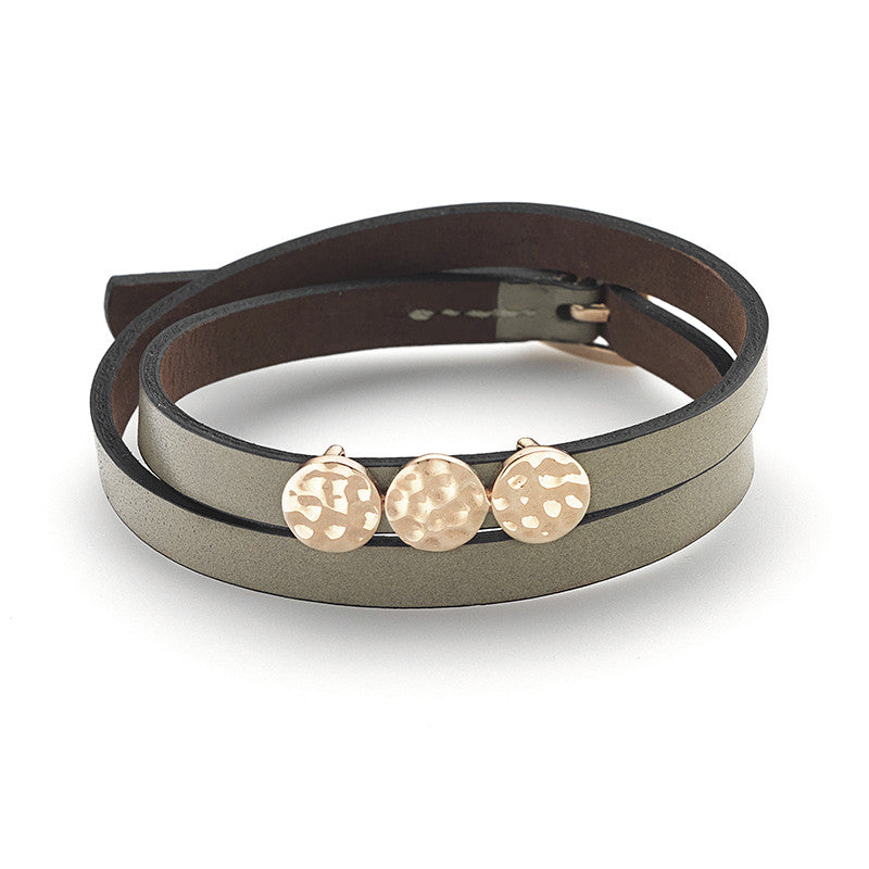 Tri-Circle Hammered Double Wrap Bracelet