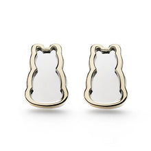 Motif Outline Stud Earrings - Two-tone Gold