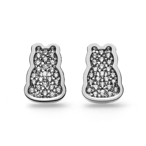 Motif Outline Stud Earrings - 14K White Gold & Diamonds