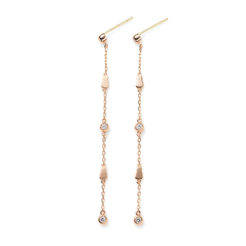 Monogram and Diamond Chain Earrings
