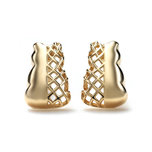 Connected Mixed Motif Earrings - 14k Yellow Gold