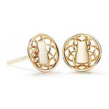 Connected Motif Lotus Earrings - 14K Yellow Gold