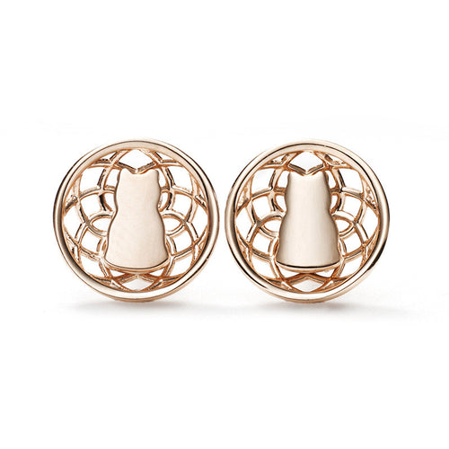 Connected Motif Lotus Earrings - 14K Pink Gold