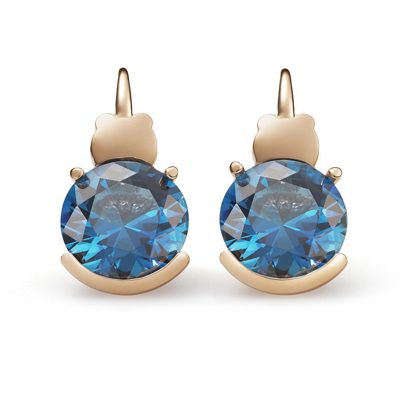 Pure Round London Blue Topaz Earrings
