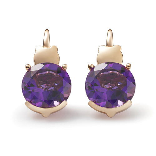 Pure Round Amethyst Earrings