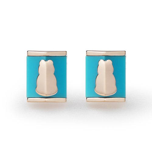 Motif Turquoise Square Earrings