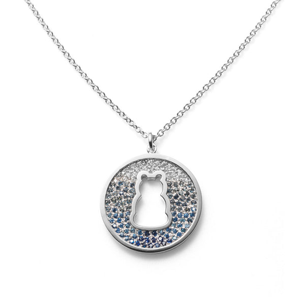 A Halo Necklace with Sapphires