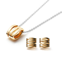 Zen Garden Wave Necklace & Horizontal Wave Stud Earrings
