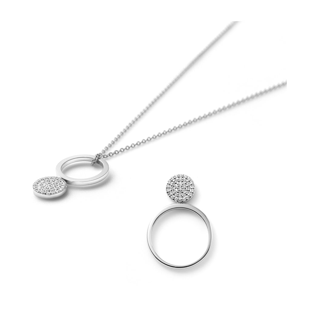 Mini-Ring Necklace & Polka Dot Ring with Sapphires