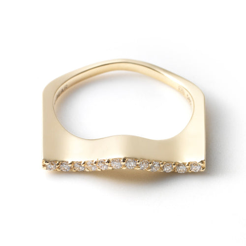 Zen Garden I Diamond Wave Ring - 14K Yellow Gold