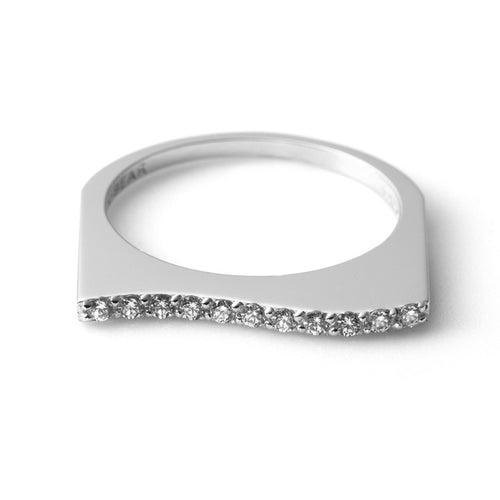 Zen Garden I Diamond Flat Wave Ring - 14K White Gold