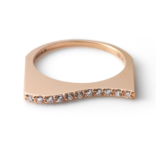 Zen Garden I Diamond Flat Wave Ring - 14K Pink Gold