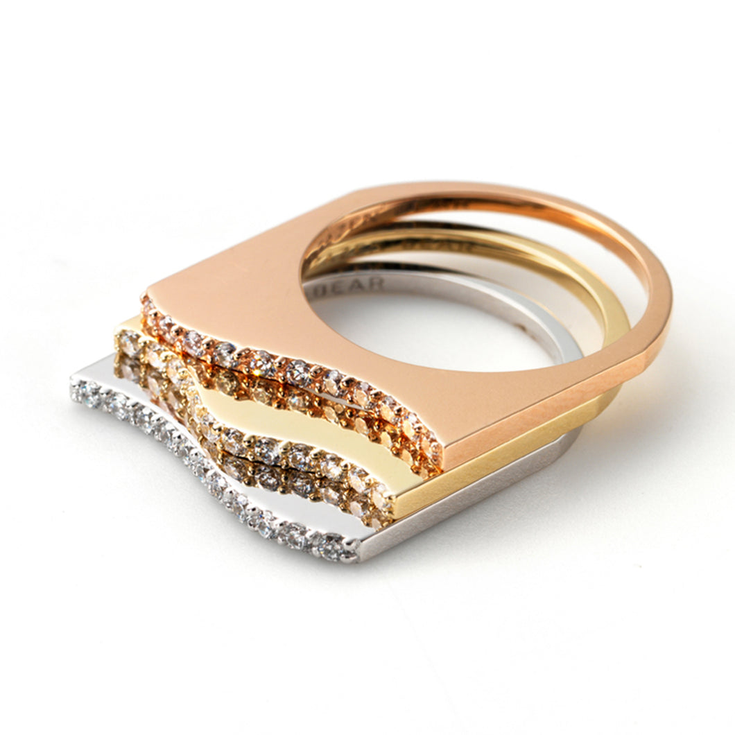 Zen Garden I Diamond Flat Wave Rings