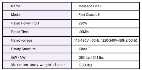 os pro first class massage chair specs