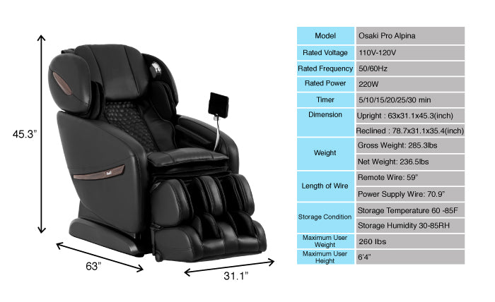 osaki alpina massage chair dimensions