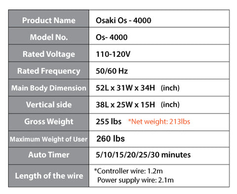 osaki os 4000t massage chair specs