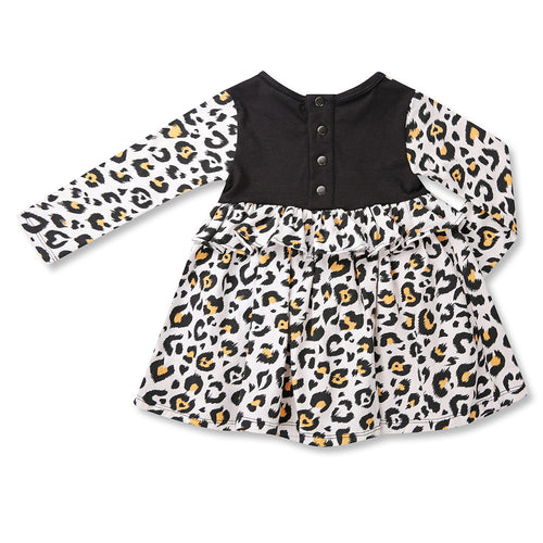 Girls Rustic Leopard Frill Dress