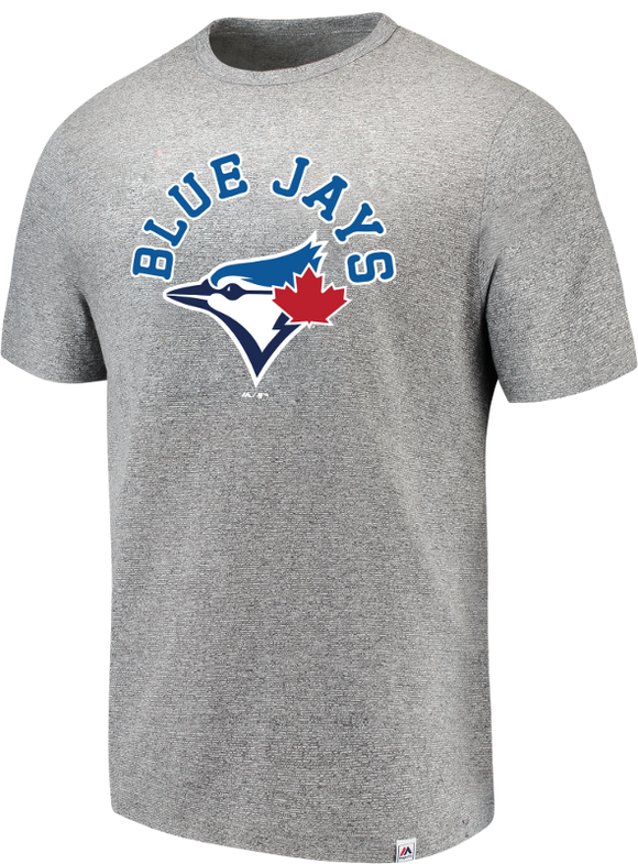 Men's Toronto Blue Jays Stand Up & Shout Grey Heathered Majestic T-Shirt - Bleacher Bum Collectibles, Toronto Blue Jays, NHL , MLB, Toronto Maple Leafs, Hat, Cap, Jersey, Hoodie, T Shirt, NFL, NBA, Toronto Raptors