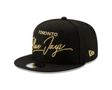 Toronto Blue Jays MLB New Era 9Fifty All Black Scripted Turn Snapback Hat - Bleacher Bum Collectibles, Toronto Blue Jays, NHL , MLB, Toronto Maple Leafs, Hat, Cap, Jersey, Hoodie, T Shirt, NFL, NBA, Toronto Raptors