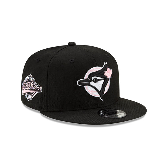 Men's Toronto Blue Jays New Era Black Cooperstown Collection 1993 World Series Logo 9FIFTY Pink Paisley Under Bill Snapback Hat