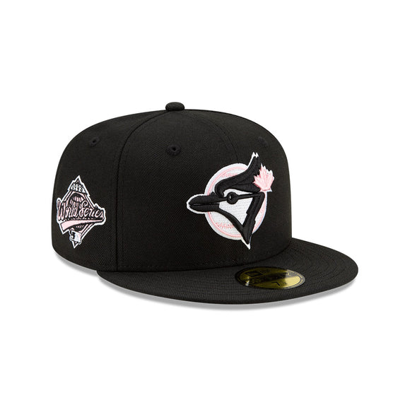 Men's Toronto Blue Jays New Era Black Cooperstown Collection 1993 World Series Logo 59FIFTY Pink Paisley Underbill Fitted Hat