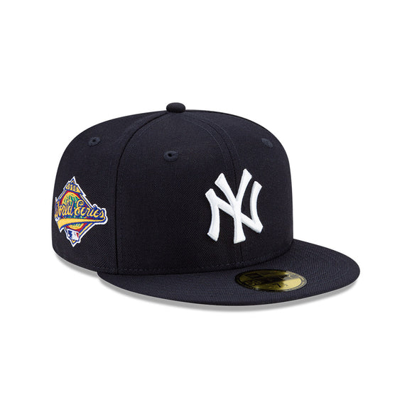 Men's New York Yankees New Era Navy Cooperstown Collection 1996 World Series Logo 59FIFTY Green Paisley Underbill Fitted Hat