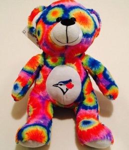 "Toronto Blue Jays 10"" Rainbow Seated Teddy Bear Plush Toy Forever Collectibles - Bleacher Bum Collectibles, Toronto Blue Jays, NHL , MLB, Toronto Maple Leafs, Hat, Cap, Jersey, Hoodie, T Shirt, NFL, NBA, Toronto Raptors"