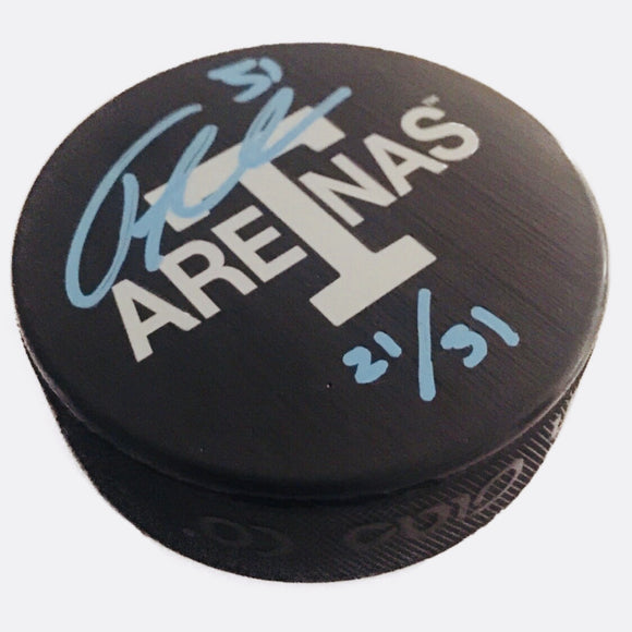 Frederik Andersen Toronto Arenas Signed Maple Leafs Next Century Game Puck #/31 - Bleacher Bum Collectibles, Toronto Blue Jays, NHL , MLB, Toronto Maple Leafs, Hat, Cap, Jersey, Hoodie, T Shirt, NFL, NBA, Toronto Raptors
