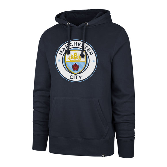 ece6ec1f2ce Men s Manchester City Football Club Imprint Headline Team Logo Pullover  Navy Hoodie - Bleacher Bum Collectibles