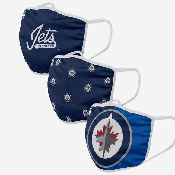 Winnipeg Jets NHL Hockey Foco Pack of 3 Adult Face Covering Mask