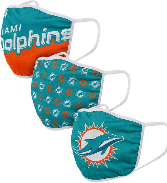 Miami Dolphins NFL Football Gametime Foco Pack of 3 Adult Face Covering Mask