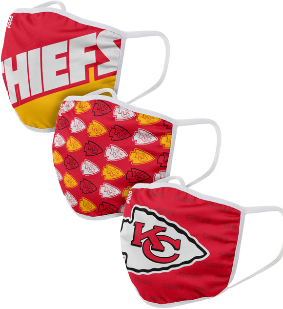 Kansas City Chiefs NFL Football Gametime Foco Pack of 3 Adult Face Covering Mask